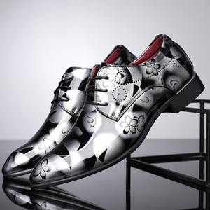 British Style Männer Blumendruck-Leder-Schuhe 2020 Neue Brautkleid S