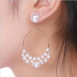 Perle Boho Imitation rond blanc cercle Boucles d'oreilles Mode Femmes Filles Couleur Or Big Earing coréenne Bijoux Party Boucles d'oreilles Déclaration