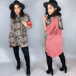 2020 Frauen Sommer Panelled Kleid Damen Rundhalsausschnitt Kleider Sexy Damen Leopard gedrucktes Kleid