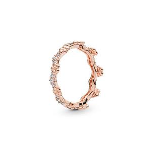 18K Rose Oro Anillo de bodas Caja de Alta Calidad Flower Flor Corona Anillos Mujeres Hombres Boda CZ Diamond Ring