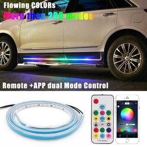 Niscarda CAR 다채로운 LED 유연한 트리머 흐르는 오신 것을 환영합니다 문 빛 스트립 원격 APP 제어 스커프 창턱 패널 RGB 네온 램프