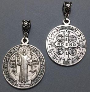 Medalha de Prata do vintage Bento Bento Cristo Redentor Catolicismo Pingentes Encantos Oscila Para Pulseira Fazer Jóias Presente NOVO