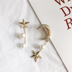 Europe French niche designer retro temperament pearl moon and the stars asymmetric long earrings female influx of people