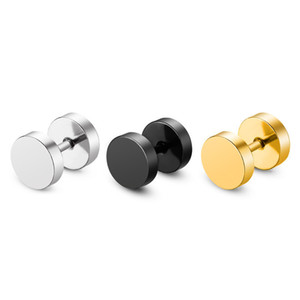 Vendita calda Barbell Ear Stud versione coreana acciaio al titanio chiodo in acciaio inox rotonda torta manubri dell'orecchio dell'orecchio gioielli in oro nero