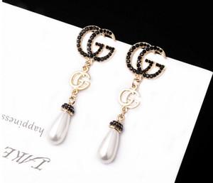 Nuovo! 2019 Marchio classico di cristallo lettera orecchini gioielli moda per le donne dichiarazione imitazione orecchini di perle gioielli