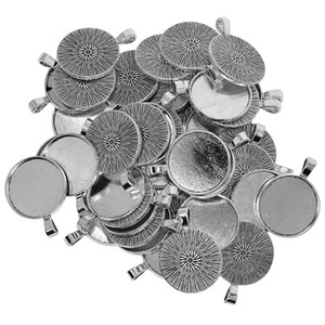 Glitter, Tibetan Silver Blank Bezel Pendant Pendants,Charms, Round Base Necklace Cabochon For Beads, Arts Tray Small Items And Crafts 5 Hgec