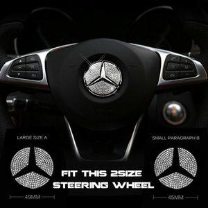 45mm oder 49mm Auto Lenkrad Zentrum Logo Diamond Emblem Aufkleber Decals für Mercedes Benz