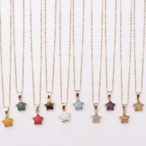 Naturstein-Stern Halskette Schmuck fünfzackigen Stern-Charme-Halskette für Frauen Strickjacke-Halskette Statement Vintage-Schmuck-Geschenk