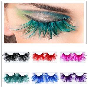 1pair Pena 3D Grosso Winged Natural pestanas falsas longas Partido Nightclub Makeup Eye Lash Halloween Xmas Mostrar Feather Eyeashes