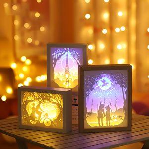 3D de papel de madera que talla la noche se enciende el LED lámpara de mesa de noche dormitorio la noche las luces de Navidad de Halloween tallada regalos de cumpleaños de la decoración de la lámpara