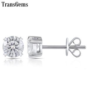 Transgems Moissanite Orecchino a perno Genuine Solid 14k White Gold Fg Colore Moissanite Diamond Center 0.25ct 0.5ct 0.8ct 1ct 2ct T190701
