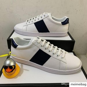 2020 High Quality Luxur stripe Paris Luxury real Leather ACE embroidered Men Designer shoes bee Gift Sneakers for women