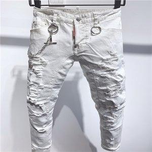 09.2020 calças de brim de alta qualidade dos homens, jeans angustiados, magro rock, slim, listras furado, moda bordado calças jeans