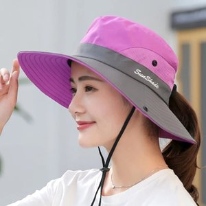 Solid Color Sun Hats For Men Outdoor Fishing Cap Wide Brim Anti-UV Beach Caps Women Bucket Hat Summer Hiking Camping