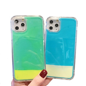 Caso luminoso de neón del resplandor de la arena Líquido de teléfono para el iPhone 11 Pro TPU para el iPhone 6 7 8 Plus XS MAX XR