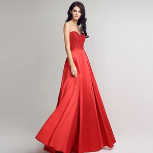 2020 Nouveau printemps et en été Soutien-gorge A-ligne formelle robes de soirée en satin rouge Retour longue sangle de perles boule de bal Party Robes