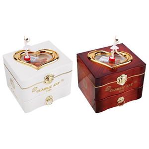 Классический Вращающийся Танцор Music Box Заводной Ручной Music Box женщин Шкатулки Ожерелье Кольцо для хранения Организатор Ящика