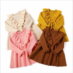Infant ragazze in maglia abiti da bambino maglione vestito dal bambino ha increspato A-Line foglia di loto cotone principessa Dresses Newborn boutique di abbigliamento DYP6495