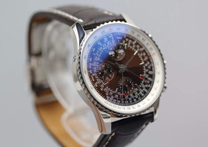 Tabie821219 ofertas 43mm Brown disque 7751 automática horas de movimento, minutos, segundos, calendário e tempo relógio código com pulseira de couro marrom