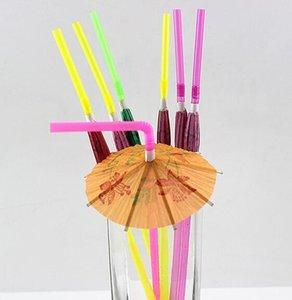 3D Kağıt Şemsiye Kokteyl İçme Pipetler Plastik'in saman pNovelty Parti Bar Dekor Düğün Hawaii Havuz Partisi Dekoru Supplie