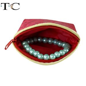 6pcs / lotRed Silk Tuch-Beutel-Geschenk-Schmucksache-Ring-Armband-Speicher-Beutel-Münzen-Purse