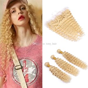 Virgin Brazilian Deep Wave Blonde Hair Bundles with Lace Frontal Closure #613 Blonde Deep Curly Human Hair Wefts with Full Frontals