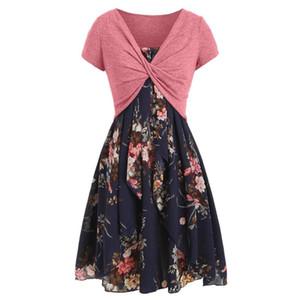 Günlük Elbiseler 2021 Kadınlar Seksi Moda Rahat Yaz Cami Çiçek Baskılı Zarif Düzgün Elbise Mahsul T-shirt Vestidos #o