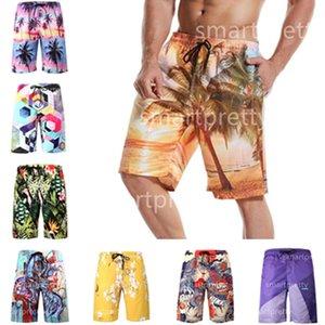 S-6XL Sommer-Männer Strand Shorts mit Blumen Drachen Kokospalme Auto Druck Strand-Hosen-Shorts Quick Dry mit Netzschicht Bademode LY327