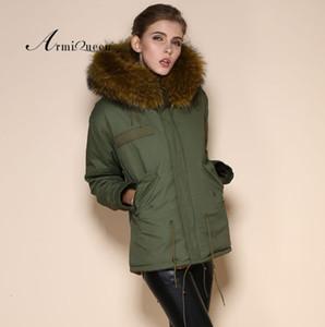 kadınlar asker yeşili kış MRS kısa pembe kürk ceket T191126