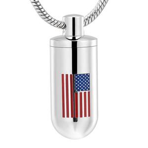 IJD11932 Drapeau américain Logo Laser Tube en argent Tube Urne Collier pour pendentif Bijoux Cendres Crémation en acier inoxydable