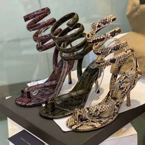 pitón estilo de diseño de moda los zapatos de lujo 2020 de la moda de piel de becerro impresa flip-flop tobillo verano correa de espiral de alta sandalias de moda de banquetes