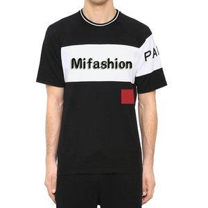2020 Spring Summer Luxury Europe Paris Embroidery Contrast patchwork Europe size Tshirt Fashion Designer T Shirt Casual Men Cotton Tee