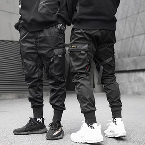 Hip Hop Boy Multi-pocket design elastico in vita Harem Mutanda degli uomini Streetwear punk Pantaloni Jogger Maschio Ballando pantaloni neri anti-Illing