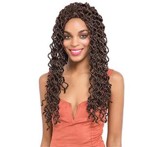 """1 PCS Goddess Locs 18 """"Crochet Trenzado de pelo Ondulado Faux Locs con rizado Extensiones de cabello sintético Deep Wave Faux Locs Trenzas retorcidas"""