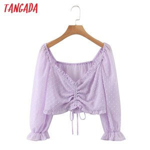 Tangada women ruffle dots purple shirts pleated v-neck female casual crop tops blouses SL540