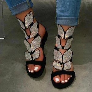Kadınlar Sandalet Bohemia Sandal Çizme Rhinestone Lady Diz Yüksek Boots Toka Kayış Kristal Elbise Yaz Ayakkabı Sandalias Mujer 4.21