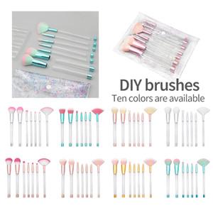 Makeup Brushes Set 7pcs Empty Clear Handle 10 colors DIY Glitter PVC Cosmetic Bag Hollow Handle Crystal Diamond makeup brushes Beauty Tool