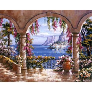 Pintar por números Arch seaside Landscape DIY Living Room Coloring by Numbers Decor Art Home Decoration Art picture