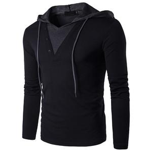 Patlamalar erkek bahar gençlik moda basit hoodies Avrupa kod kişilik uzun kollu renk eşleştirme kapüşonlu T-shirt
