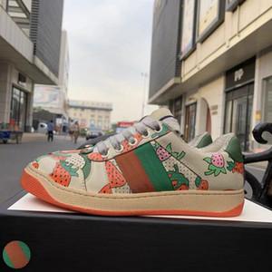 Top-Qualität Screener Schmutzige Designer Schuhe Luxus Echtes Leder Designer-Turnschuh-Mann-Frauen ACE gestickten Erdbeere Freizeitschuhe