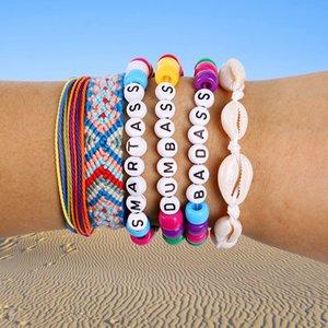 Tópico 6PCS / Set Handmade Woven Multilayer Wax DIY Pulseira Shell Letters Beads Mão Cadeia Friendship Bracelet Bangle para mulheres Jóia presente