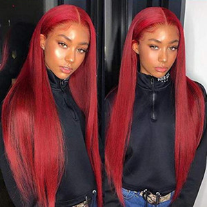 Red Lace Front Human Hair Wigs Red Human Hair Wig 99J 360 Lace Frontal Wig Pre Plucked Full Lace Human Hair Wigs Colored