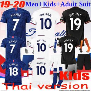 Enfants 19 20 ABRAHAM MOUNT PULISIC maillot football enfants Maillot de foot BAKAYOKO Camiseta WILLIAN 2019 2020 chaussettes KANTE ENFANTS KIT UNIFORME ENSEMBLES