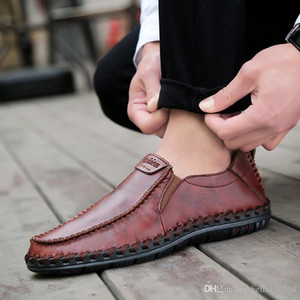 newest genuine leather male shoes suede loafer official shoes gee mens travel walk shoe casual comfort breath shoes for Men top quality