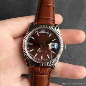 Design Montre automate classique en cuir journal acier inoxydable neutre à double calendrier montre bracelet 40mm une variété de couleurs