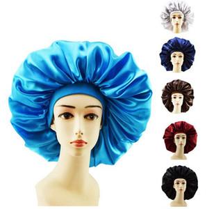 Новые Женщины Большой размер красоты печати Сатин Bonnet Sleep Night Cap Крышка головки Bonnet Hat для вьющихся Для пружинистой черный волос