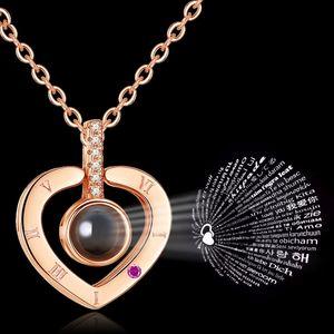 100 Idiomas colar Eu te amo Projeção Pendant Choker colares numerais romanos Cristal Pingente partido Jóias Cadeia favor GGA2718