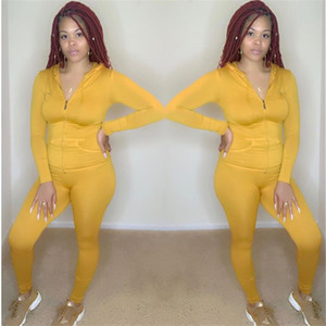 Primavera Womens Pure Color tute con cappuccio Skinny attivi femminili degli insiemi 2pcs Zipper Casual tailleur sportivi con tasche