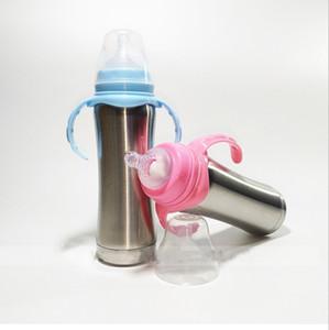 bebek için meme Taşınabilir Doğal Hissi Veren 8oz biberon biberon vakum hemşirelik Şişe çift duvarlı paslanmaz çelik
