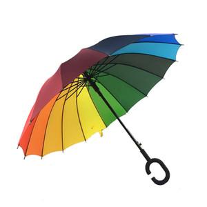 C Hook Rainbow Umbrella Mango largo 16K recto a prueba de viento colorido Pongee Umbrella Mujeres Hombres Sunny Rainy Umbrella en stock WX9-637